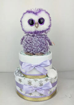 Purple and Gold Owl Nappy Cake