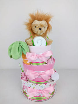 Baby Girl Lion Jungle Nappy Cake