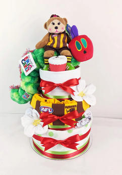 Neutral Hungry Caterpillar Nappy Cake with Hawks items
