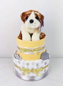 Neutral Unisex Bulldog Nappy Cake