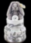 Neutral Unisex Baby Grey Bunny Nappy Cake - Nappy Cakes Sydney