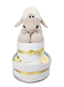 Two Tier White, Gold and Grey Nappy Cake - The perfect unisex baby shower gift for newborn baby