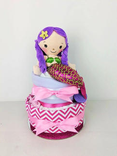 Pink and Purple Mermaid Nappy Cake
