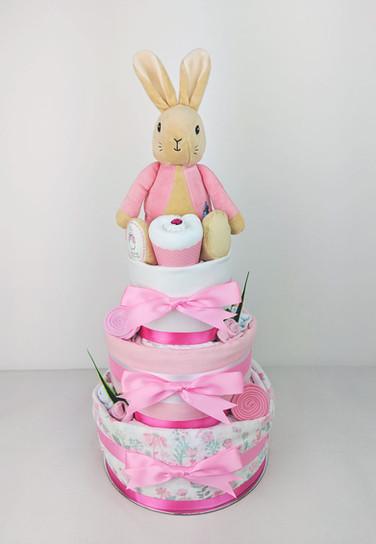 Baby Girl Flopsy Bunny Nappy Cake - Newborn baby gift hamper brisbane