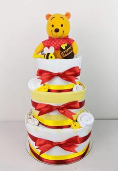 Neutral Unisex Pooh Bear Nappy Cake