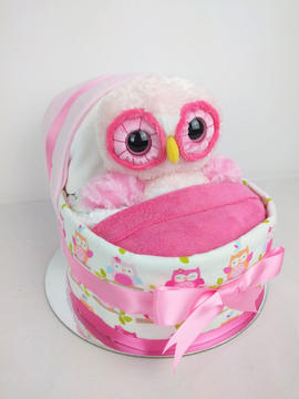 Baby Girl Owl Nappy Crib - Plush Toy Unavailable