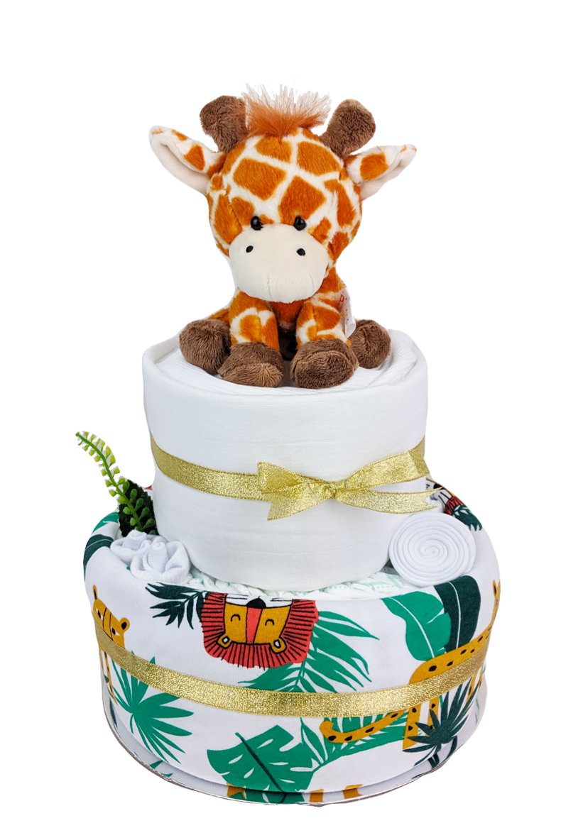 Two Tier Gold Safari Nappy Cake - Perfect Unisex Baby Shower Gifts for newborn baby