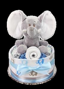 Baby Boy One Tier Blue Elephant Nappy Cake - Nappy Cake Hamper Online Baby Gifts