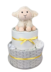 Neutral Unisex Lamb Nappy Cake Gift Hamper - Baby Gift Hampers - Newborn Baby Gifts Melbourne