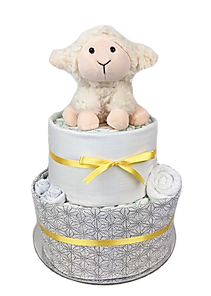 Neutral Unisex Lamb Nappy Cake Gift Hamper - Baby Gift Hampers - Nappy Cakes Melbourne
