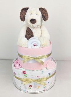 Baby Girl Puppy Nappy Cake
