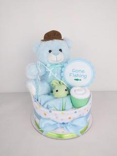 Baby Boy Gone Fishing Nappy Cake