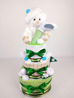 Neutral Little Golfer Nappy Cake