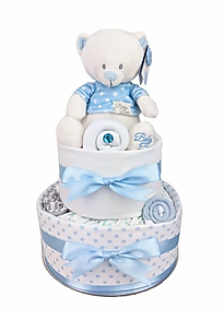 Baby Boy Spotty Blue Teddy Nappy Cake - Newborn Baby Gift Hamper Melbourne