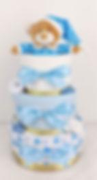 Baby Boy Blue and Gold Starbright Nappy Cake - Newborn Baby Hamper Gift