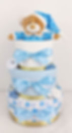 Baby Boy Blue and Gold Starbright Nappy Cake - Newborn Baby Hamper Gift