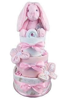 Baby Girl Pink Bunny Nappy Cake - Baby Shower gifts Australia