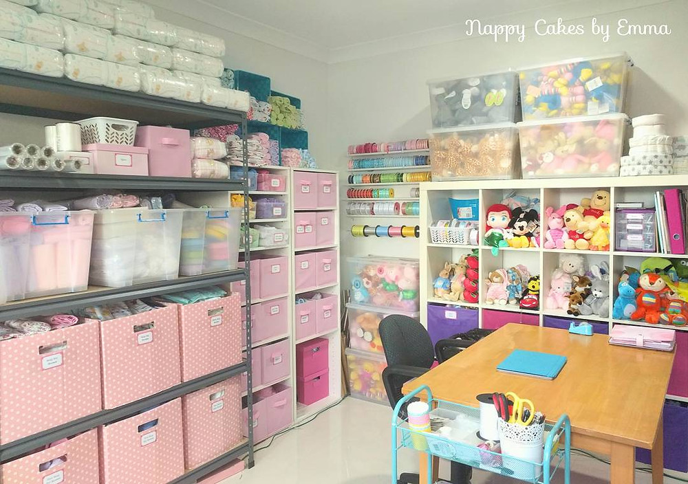 Nappy Cake studio workroom brisbane - craft room