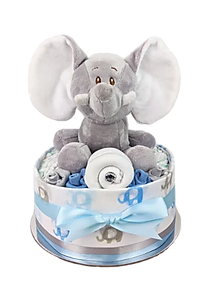 Baby Boy Blue Elephant Nappy Cake - Baby Shower Gifts Australia