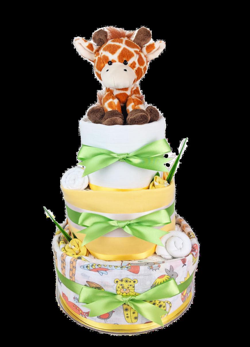 Neutral Unisex Giraffe Nappy Cake - Newborn baby gift hamper sydney