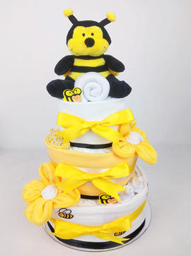 Neutral Bumblebee Nappy Cake - Plush Toy Unavailable