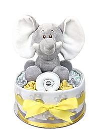 Neutral Unisex Yellow Elephant Nappy Cakes - Nappy Cake Melbourne