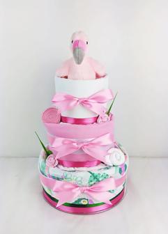 Baby Girl Tropical Flamingo Nappy Cake