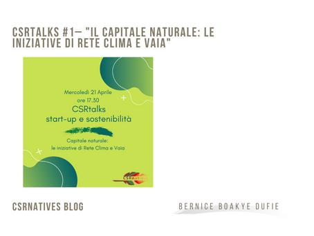 """CSRtalks #1– """"il capitale naturale: le iniziative di Rete Clima e Vaia"""""""