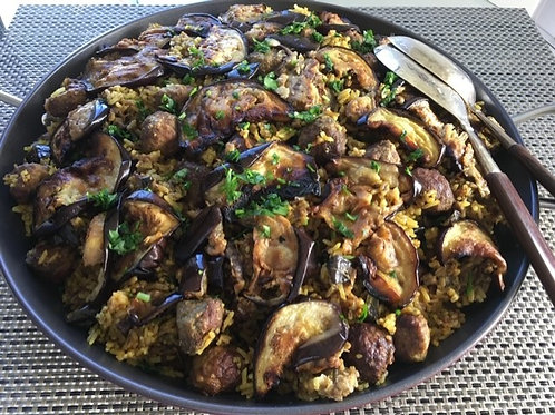 Eggplant and Meat Paella ( serves 10 PP)