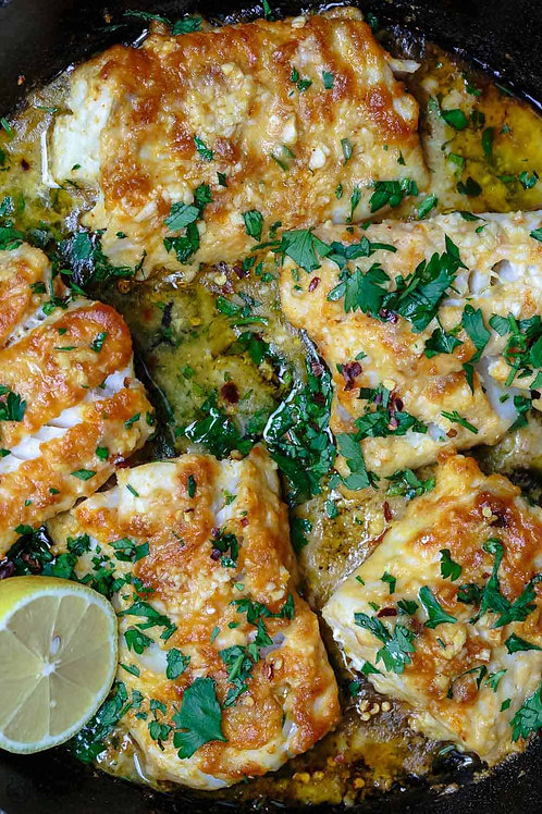 Lemon Garlic Mediterranean Baked Fish ( Serves 2-3 pp)