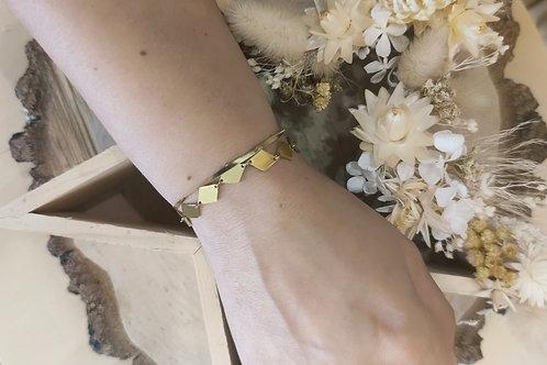 Bracelet double en acier doré