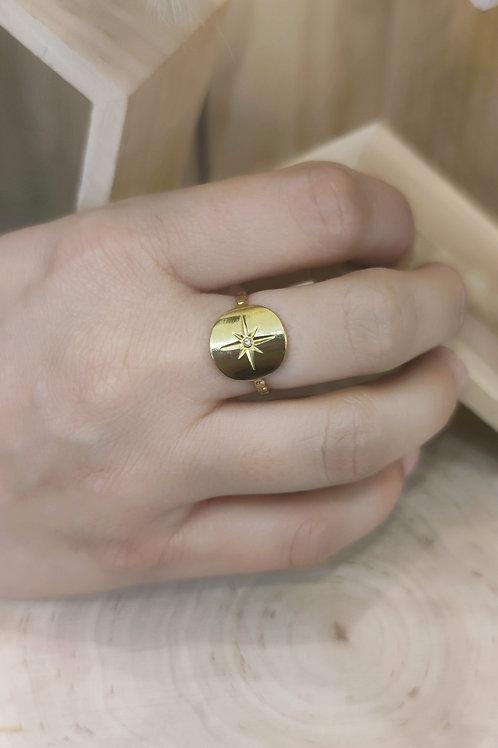 Bague réglable en acier doré