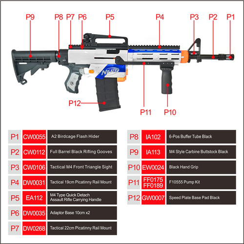 Worker Mod M4a1 Carbine Imitation Kit Combo Pack For Nerf Retaliator