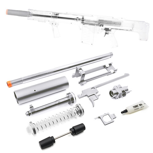 Worker MOD Silver Metal Extended Barrel Breech Bolt 18KG Kit for Nerf LongShot