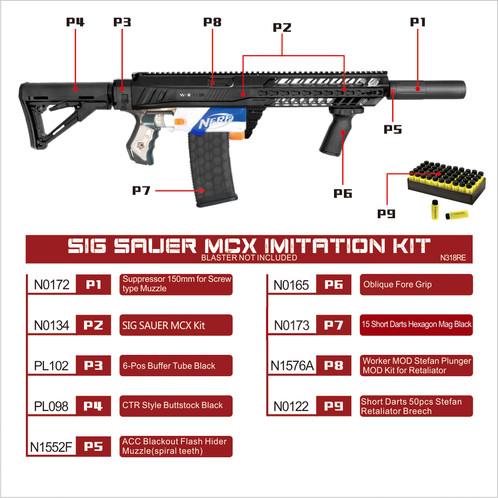 Worker Mod Sig Sauer Mcx Imitation Kit Short Dart Mass Combo For