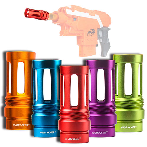 Worker MOD A1 Birdcage Flash Hider Muzzle 6 Colours for Nerf Toy