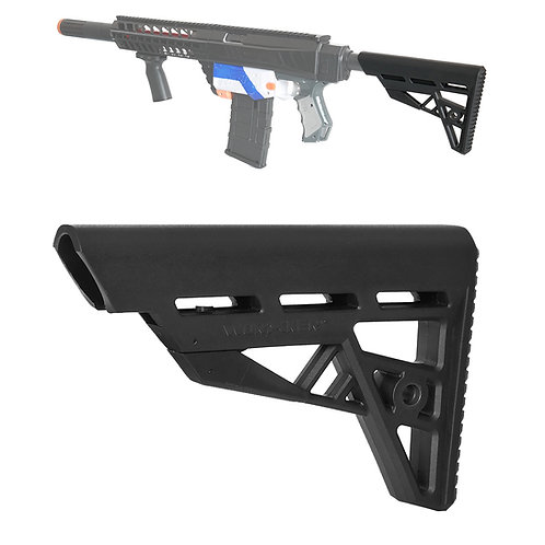 Worker MOD Tactical Adjustable ButtStock Black Minimal Style for Nerf Toy