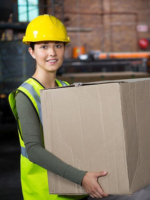 beautiful-female-worker-carrying-box-war