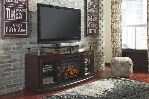 Chanceen - Dark Brown - 60 TV Stand with Electric Fireplace