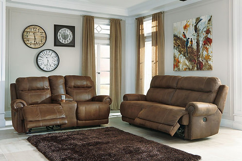Austere - Brown - 2 Seat REC Sofa & DBL REC Loveseat with Console
