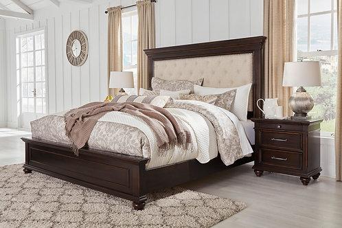 Brynhurst - Dark Brown - 4 Pc. - King UPH Panel Bed & Nightstand