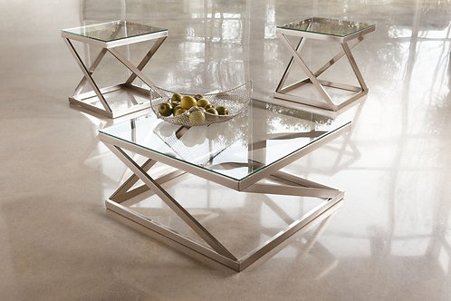 Coylin - Brushed Nickel Finish - Square Cocktail Table & 2 Square End Tables