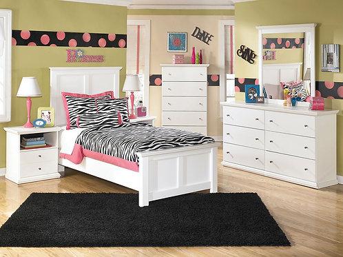 Bostwick Shoals - White - Dresser, Mirror, Chest, Twin Panel Bed & 2 Nightstands
