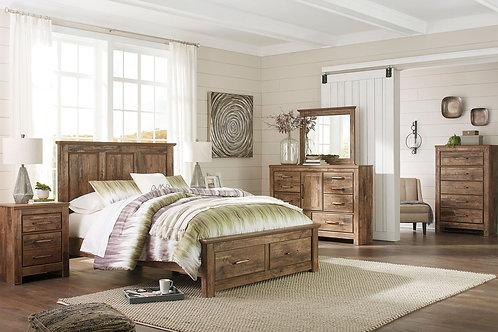 Blaneville - Brown - 6 Pc. - Dresser, Mirror & Queen Storage Bed