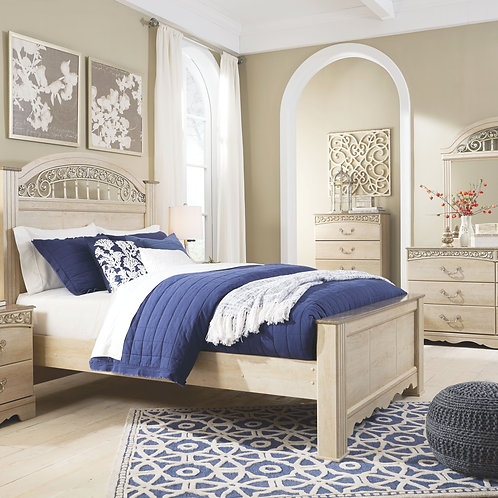 Catalina - Antique White - 6 Pc. - Dresser, Mirror, Chest & King Poster Bed