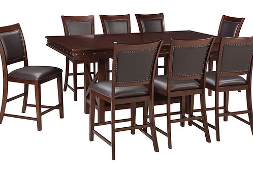 Collenburg - Dark Brown - 9 Pc. - RECT DRM Counter EXT Table & 8 UPH Barstools