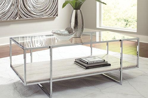 Bodalli - Ivory/Chrome - Rectangular Cocktail Table