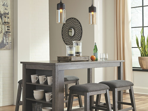 Caitbrook - Dark Gray - 5 Pc. - RECT DRM Counter Table & 4 UPH Stools