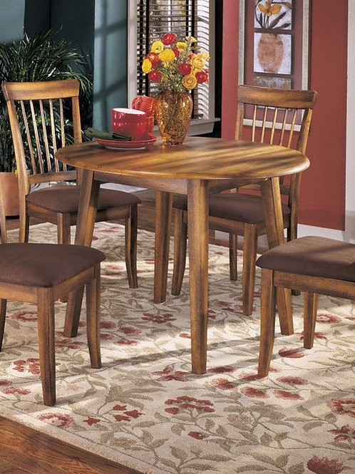 Berringer - Rustic Brown - 5 Pc. - DRM Drop Leaf Table & 4 UPH Side Chairs
