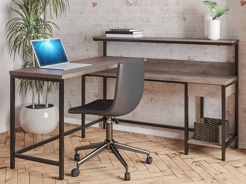 Arlenbry - Gray - L-Desk with Storage & Swivel Desk Chair